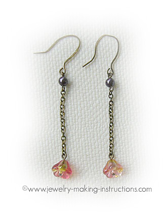 pink dangling earrings/Pink Dangling Earrings