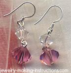 Pink Swarovski Crystal Earrings/pink swarovski crystal earrings