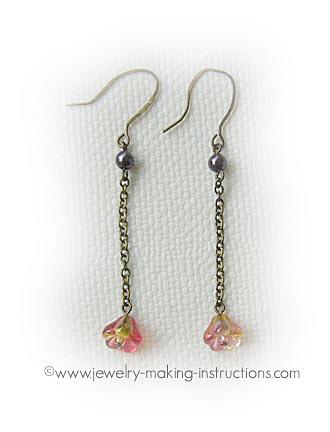 pink dangling earrings/Pink Dangling Earrings